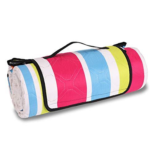 Sekey 200 x 200cm Picknickdecke wasserdicht, Camping Decke Picknickdecke mit tragbarem Griff, Waschbare Picknickdecke für Outdoor