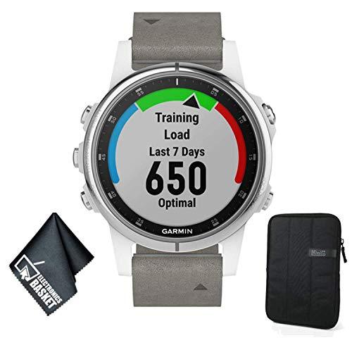Affordable Garmin Fenix 5S Plus Sapphire Edition Multi-Sport Training GPS Watch (White w/Gray Suede ...