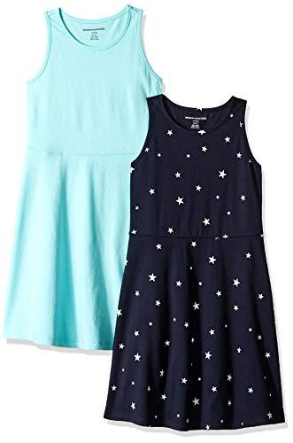 Amazon Essentials - Pack de 2 vestidos sin mangas para niña, Star/Aqua, US 4T (EU 104–110)