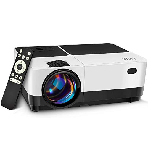 Wsky 2020 Portable Projector, Full HD 1080P Supported Outdoor Movie Projector, Home Theater, Compatible with DVD, TV Stick, PS4, HDMI, VGA, TF, Phone, Laptop and USB