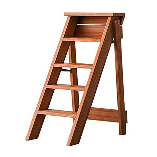 Escalera de Madera 5 Pasos Plegables Plegables sillas para la Cocina de la Biblioteca o el jardín casero - Capacidad 150kg