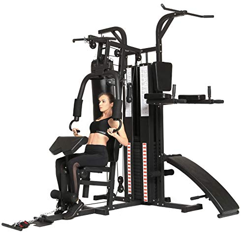 Dione HG5 - Fitnessstation - Multi-Gym - Krafstation mit Boxsack - Einschließlich 65 kg Gewichte - Erweiterbar auf 100 kg