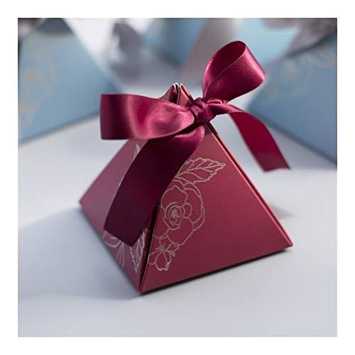 HXSZWJJ Caja de dulces triangular para regalos y regalos de boda, bolsas de dulces para invitados, decoración de boda, suministros de fiesta de ducha (color granate, caja de regalo: 20 unidades)