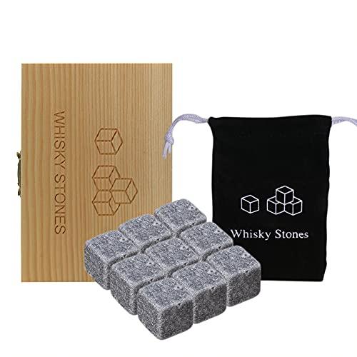 Festnight Juego de Piedras de Whisky 9 Rocas de enfriamiento de Whisky de Granito con Caja de Madera y Bolsa de Terciopelo Piedras de Vino Enfriadores de Vino Reutilizables