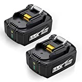 Abaige 2 Pack 18V 6.0Ah BL1860B-2 Lithium Battery Replace for Makita 18V Battery BL1860 BL1850 BL1840 BL1830 LXT-400 18-Volt Cordless Power Tools Batteries with LED Power Display
