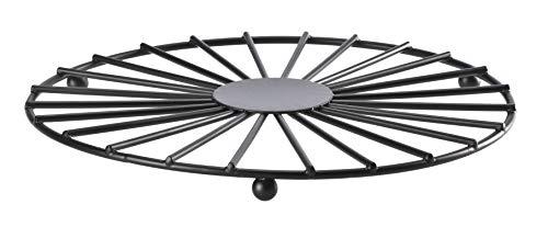 KADAX Salvamanteles de acero con recubrimiento de polvo de 20 cm de diámetro, salvamanteles redondos, posavasos para vajilla, cuenco, plato, base con patrón, ahorro de espacio, color negro
