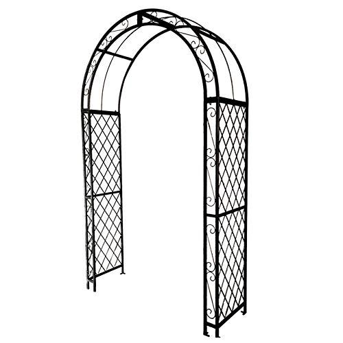 Gran Arco de Jardín de Metal de 2,5 M, Resistente y Resistente Cenador Tubular para Rosas, Plantas Trepadoras, Soporte, Arco, Decoración de Jardín (Negro, Blanco)