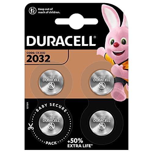 Duracell - 2032, Batteria Bottone al litio 3V, confezione da 4, con Tecnologia Baby Secure per l'uso su chiavi con sensore magnetico, bilance, elementi indossabili (DL2032/CR2032)