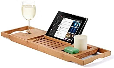 Callas Bathtub Caddy Bamboo Bath Tray with Extending Sides, Reading Rack, Tablet Holder, Cellphone Tray and Wine Glass Holder