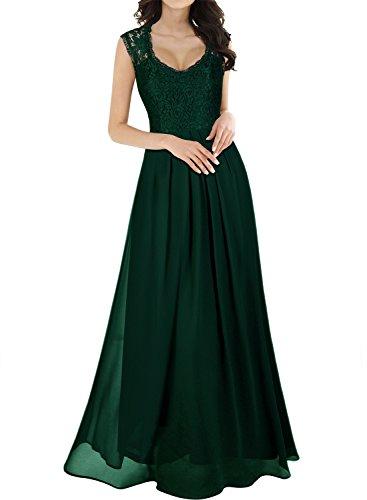 Miusol Vintage Chiffon Largo Fiesta Vestidos para Mujer Verde X-Large