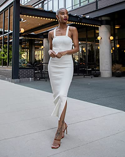 The Drop Vestido para Mujer, Midi de Tirantes de Canalé, Blanco Whisper, por @signedblake