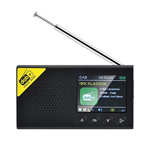 knowledgi Radio DAB/FM, pantalla LCD de 3 niveles con brillo de color, radio digital portátil Bluetooth de 2,4 pulgadas con función de carga USB, 15 horas de reproducción (negro)
