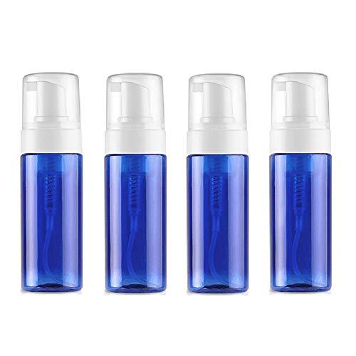 VASANA 4 x 100 ml leere blaue Kunststoff-Schäumspender Pumpflaschen Aufbewahrungsbehälter für Kosmetik, Gesichtsreiniger, Shampoo, Duschgel