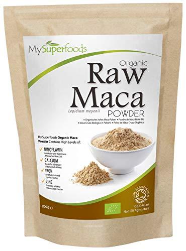 Polvo De Maca Cruda Orgánica (200g), MySuperFoods, Repleto de nutrientes saludables, Antiguo alimento para la salud de Perú, Delicioso sabor a maltosa, certificado como producto orgánico