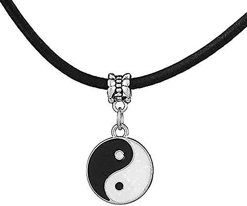 WYDSFWL Collar Estilo Vintage y Hombres Simples Yin y Yang Colgante Collar de Tai Chi decoración de Moda para Amantes Regalo Unisex