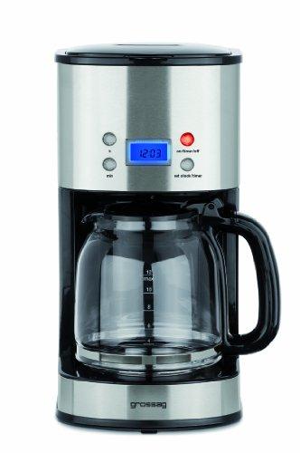 Grossag Filter-Kaffeeautomat mit Glaskanne und Timer-Funktion KA 64 | 1,6 Liter für 12 Tassen Kaffee | 1000 Watt | Schwarz – Edelstahl