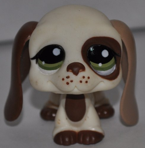 Bassett Hound #1594 (Cream White, Green Eyes, Dark Brown Ears) - Littlest Pet Shop (Retired) Collector Toy - LPS Collectible Replacement Single Figure - Loose (OOP Out of Package & Print)