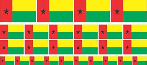 Mini Aufkleber Set - Pack glatt - 4x 51x31mm+ 12x 33x20mm + 10x 20x12mm- Sticker - Fahne - Guinea Bissau - Flagge - Banner - Standarte fürs Auto, Büro, zu Hause & die Schule - Set of 26