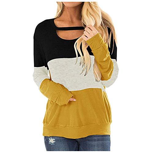 Pullover Damen Sexy Oberteil Damen Langarmshirts, LeeMon Damen Elegant Langarmshirt Damen Bluse Chiffon Herbst Choker T-Shirt V-Ausschnitt Tops