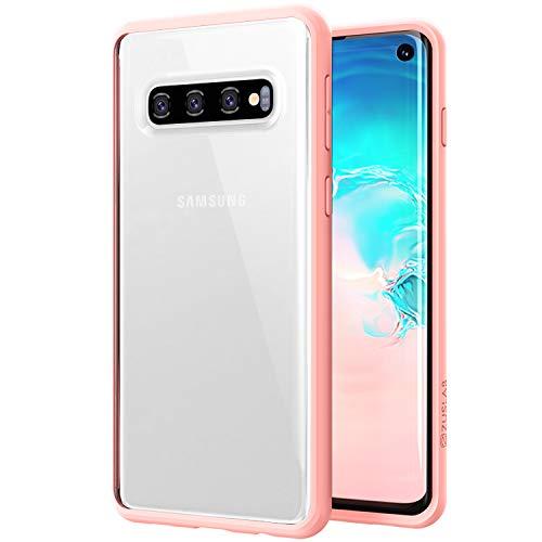 ZUSLAB Tough Fusion Compatibile con Custodia Samsung Galaxy S10 con Cover Posteriore Trasparente - Rosa