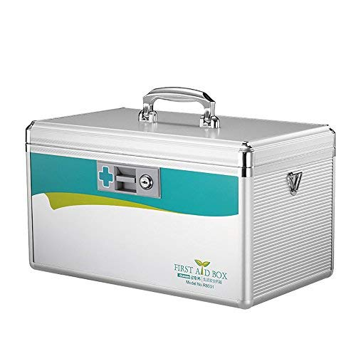 Glosen Lockable First Aid Box Security Lock Medicine Storage Box with Portable Handle (Large) 14x8.5x8.5 Inches Silver