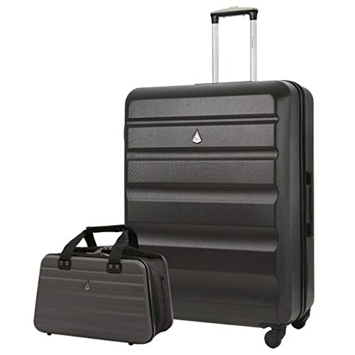 Aerolite 29' Large Lightweight ABS Hard Shell Check in Luggage Suitcase + Ryanair Max Size 40x20x25cm Hand Cabin Shoulder Flight Bag Charcoal + Charcoal