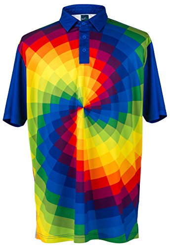 ReadyGOLF Mens Golf Polo Shirt - Tie Dye Large