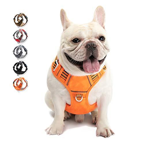 Walktofine, arnés de perro sin tirón reflectante, cómodo arnés con mango, correa para mascotas totalmente ajustable, para asiento de coche de raza de perro pequeño, mediano y grande, color naranja M