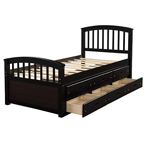 Espresso Bed Frame Twin W/ 6 Drawers,JULYFOX Pine Wood Bed Platform with Headboard Footboard Wood Slats Daybed No Box Spring Needed Heavy Duty Captain's Bed for Kids Teens Juniors Small Spaces