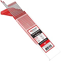 """10-pk premium quality TIG welding Tungsten electrodes 2.0% Thoriated (WT20,Red) Color code: Red AMERICAN Welding Society standard AWS A5.12M/A5.12:2009 conformance Size: 3/32""""x7""""(1.0x175mm) 10pk Vacuum packing, no oxidation,long time preservation"""