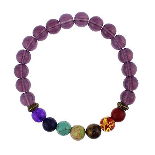 NDOSD Armband Bunte Lava Matte lila Steinperlen Gleichgewicht Armbänder Yoga männlichen Armband