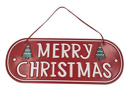 Apanphy® Navidad Puerta Placa, hierro Colgante Ornamento fiestas Decoraciones Etiqueta Colgante Colgante Placa Christmas Hanging Sign Plaque con cuerdas para puerta de ventana de pared (Rojo)