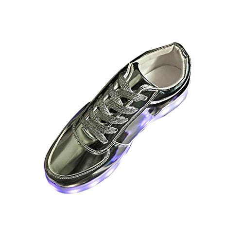 AMUSTER.DAN LED Schuhe Farbe USB Aufladen Sport Schuhe für Herren Damen Led Sneaker Turnschuhe (41, Silber)