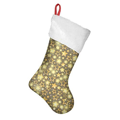 LunchBaggg 18 Inches Golden Velvet Yellow Star Blinking Christmas Lights Xmas Sock for Fireplace Hanging Mantle Hanging Ornament