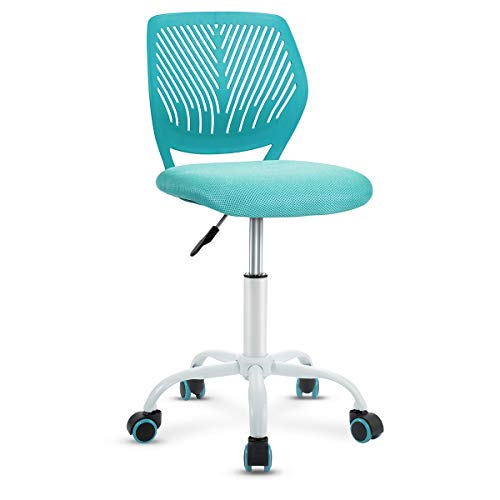 Giantex Kids Desk Chair, Adjustable Children Study Chair, Swivel Chair Armless Mesh Task Student Chair, Child Desk Chair with Adjustable Height & Lumbar Support Computer Chair (Turquoise)
