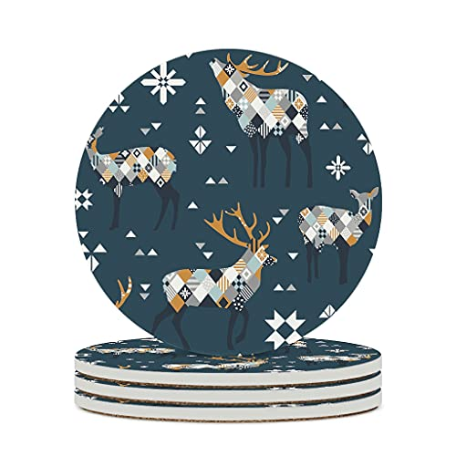 Perstonnoli Posavasos geométricos redondos de cerámica con parte trasera de corcho, juego de 4 posavasos decorativos para bebidas, tazas, bares, cristal, 10 cm, color blanco, 4 unidades