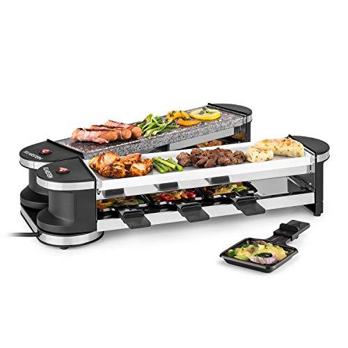 Klarstein Tenderloin - 50/50 Raclette-barbacoa eléctrica, potencia de 1200 W / 600...