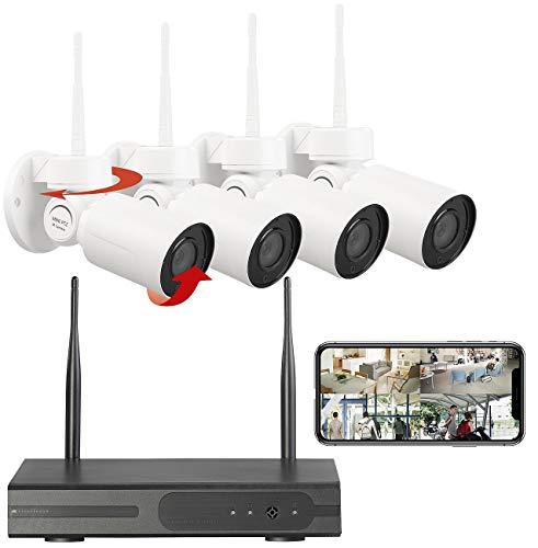 VisorTech Überwachungsset: Funk-Überwachungssystem mit HDD-Rekorder, 4 PT-Kameras, App, H.265 (Outdoor WLAN Kamera)