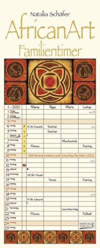 African Art - Familienplaner 2021 für 4 Personen - Korsch-Verlag - Kalender mit 4 Spalten zum Eintragen - 18,8 cm x 46,8 cm