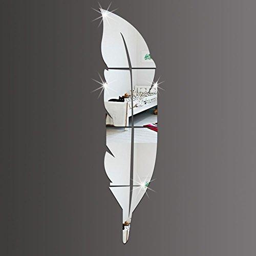 Qaurora moderne DIY Feder-Spiegel-Wand-Aufkleber-Acrylart und weise 3D Hauptabziehbild-Wohnzimmer-Wandbilder 48 x 12 Zoll (120 x 30cm) (Links)