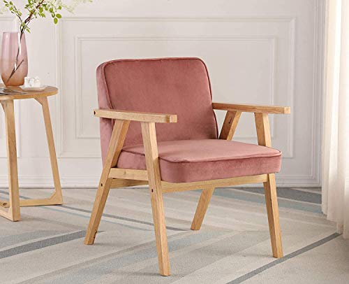 Wahson Velvet Armchair Mid-Century Accent Chair with Solid Wood Legs Padded Seat,Tub Chair for Bedroom/Living Room/Balcony (Pink-Armchair)