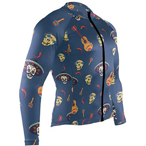 Cindly Guitar Pepper Sugar Skull Men's Cycling Jersey Long Sleeve Bike Jacket Biking Bicycle Jersey Shirt