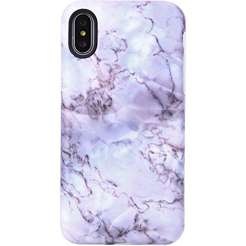 VIVIBIN Case for iPhone X XS,Cute Light Purple Opal Marble for Girls Women Clear Bumper Soft Silicone Rubber Matte TPU Cover Slim Fit Best Protective Thin Phone Case for iPhone X XS 5.8 inch