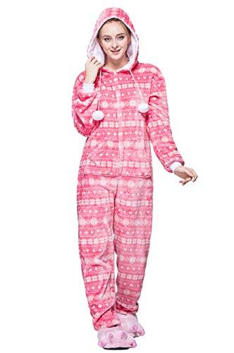 Honeystore Unisex Erwachsene Weihnachten Halloween Fasching Carnival Rosa Schneeflocke Pajamas Pyjamas Schlafanzug Kostüme Jumpsuit Kleidung XL