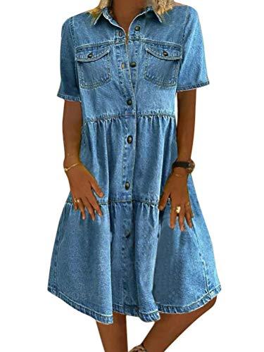 Tomwell Jeanskleid Sommerkleid Damen Jeans Kleider V-Ausschnitt Kurzarm Strandkleider Einfarbig A-Linie Kleid Boho Knielang Kleid Denimkleid A Hellblau XL