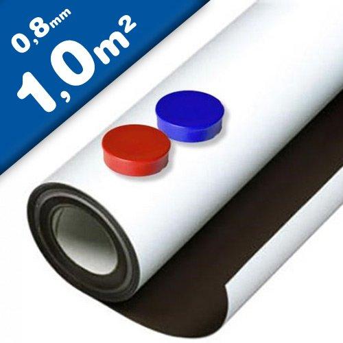 Eisenfolie Ferrofolie selbstklebend weiß matt - 0,8mm x 1m x 1m - mit Premium-Kleber, flexibler Haftgrund für Magnete