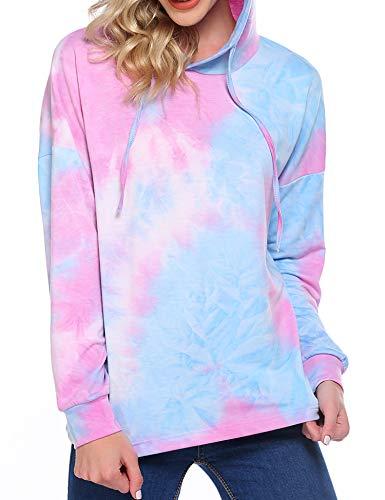 Beyove Tie Dye Hoodie Kapuzenpullover Damen Neon Sweatshirt Gedruckt Patchwork Pullover Langarm Kapuzenjacke