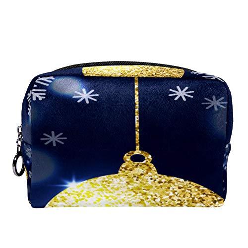 Bolsa de cosméticos Bolsa de Maquillaje para Mujer para Viajar Llevar cosméticos Cambiar Llaves, etc.,Bola de Oro del Copo de Nieve de la decoración navideña