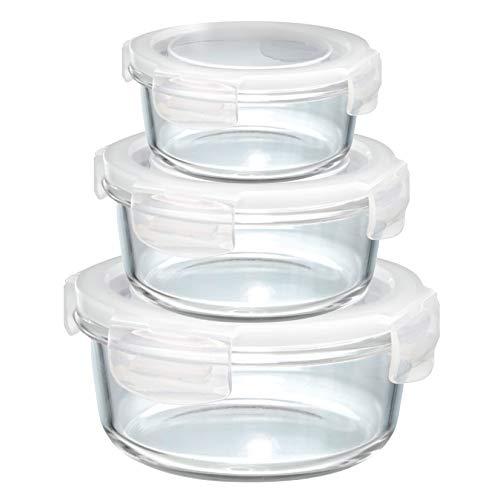 Grizzly Frischhaltedosen Glas 3 er Set Rund Vorratsdosen mit Deckel