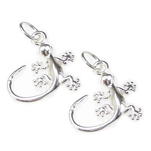 2Stück Eidechsen klein Sterling Silber Charms 925Eidechse Gecko ci300521-xx02